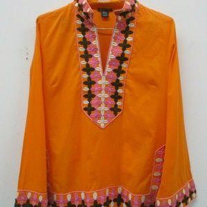 Boston Proper Boho Embroidered Tunic Top Orange La
